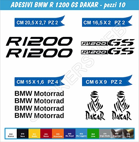 Adesivi Stickers R1200 GS Dakar Kit 10 Pezzi -Scegli Colore- Moto Motorbike cod.0462 (Nero cod. 070)