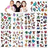 Konsait Tatuajes Temporales para Niños Niñas, 160pcs Dibujos Animados Animal Tatuaje...