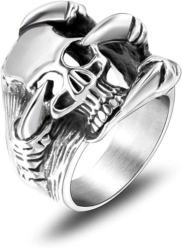 NanMuc Vintage Stainless Steel Gothic Skull Ring Punk Biker Statement Ring Cocktail Party Ring Size 8-12