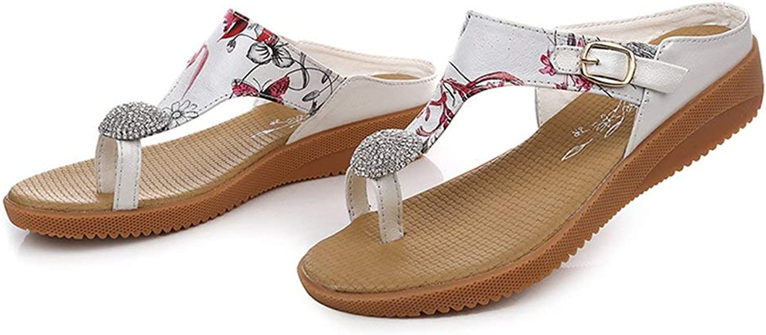 Comfortable and beautiful ladies sandals The New wear Leather Flat flip-Flops Non-Slip Flat Beach Slippers.