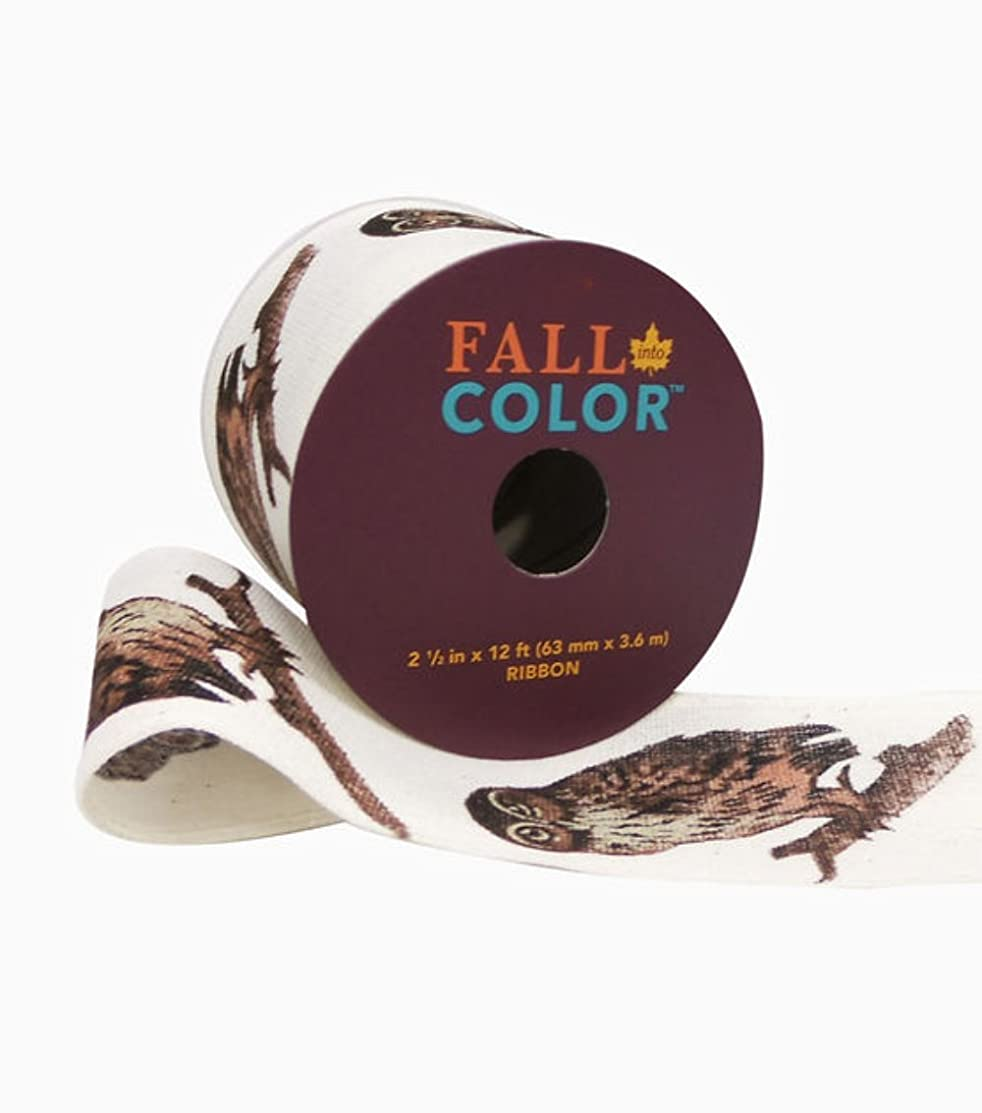 Fall Into Color Ribbon 2.5' 'x 12' Brown Owl on Ivory Wired Edge