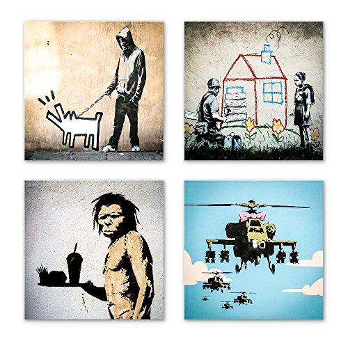 Banksy Bilder Set G, 4-teiliges Bilder-Set jedes Teil 19x19cm, Seidenmatte Optik auf Forex FineArt Print, Moderne schwebende Optik, UV-stabil, wasserfest, Kunstdruck für Büro, Wohnzimmer, Deko Bild