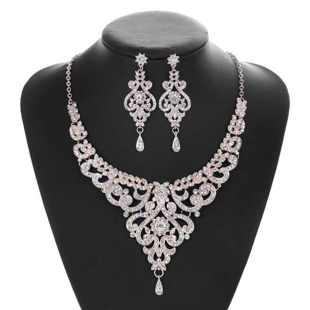 Missgrace Women Floral Full Rhinestone Crystal Necklace and Earrings Wedding Jewelry Sets Wedding Dainty Jewelry Set Statement Necklace for Bridal and Bridesmaid (Style 6)