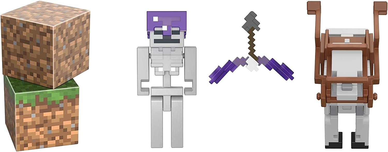 Minecraft Skeleton Craft-a-Block 2-Pk, Action Figures & Toys to Create, Explore and Survive, Authentic Pixelated Designs, Collectible Gifts for Kids Age 6 Years and Older