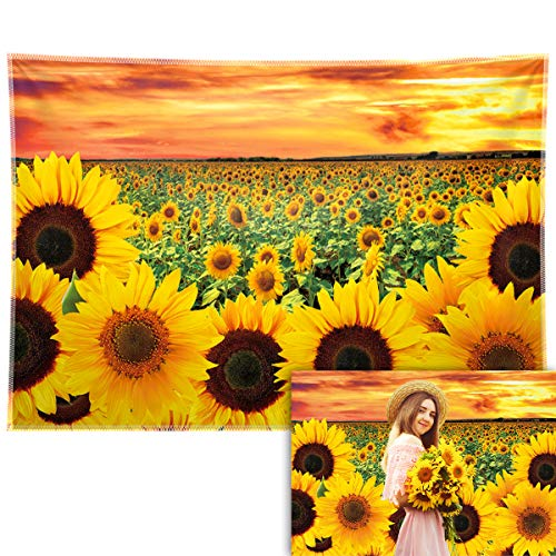 Allenjoy 7x5ft Durable/Soft Fabric Sunflower Backdrop Fall Floral Sunset Photography Background Autumn Thanksgiving Decoration Birthday Baby Shower Party Supplies Wedding Graduation Photo Booth