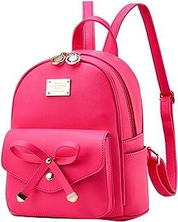 Baymate Damen Vintage PU Leder Rucksack Schultasche Daypacks Outdoor Umhängetasch
