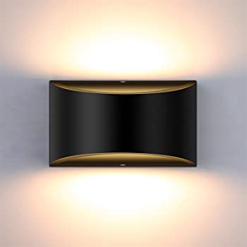 Amazon Com Lightess Modern Led Wall Sconce Dimmable Up Down Wall Lamp Black Bedroom Wall Sconces 12w Hallway Wall Mounted Lighting Fixtures For Stair Living Room Warm White Home Improvement
