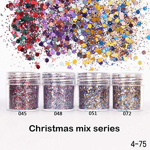 1 pot/doos 10ml Nail Art Glitter Christmas Mix Series 3D Nail Art Glitter MIX poeder pailletten poeder voor nail art decoratie, 072 10ml