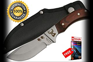 FIXED BLADE HUNTING SHARP KNIFE 4'' Blade Wood Handle Deer Hunter Skinner + Sheath Combat Tactical Knife + eBOOK by Moon Knives