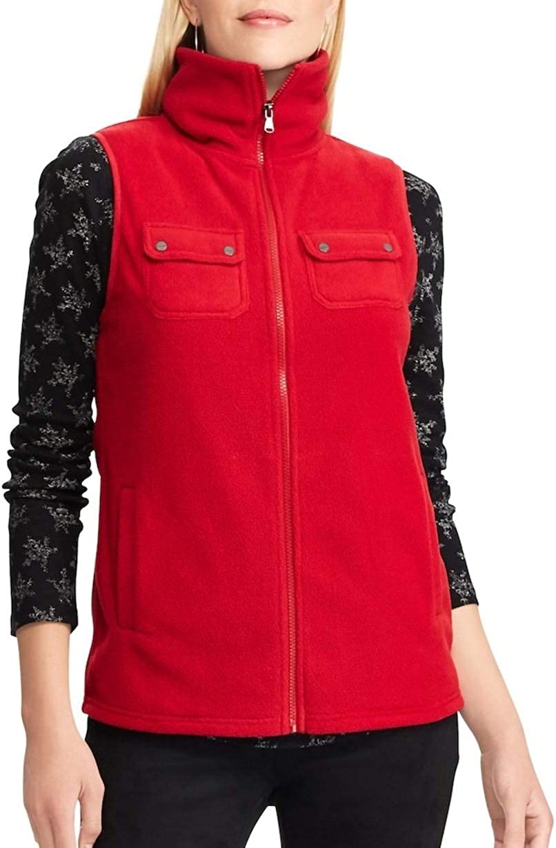 Chaps Women's Solid Fashion Mockneck Sleeveless Vest