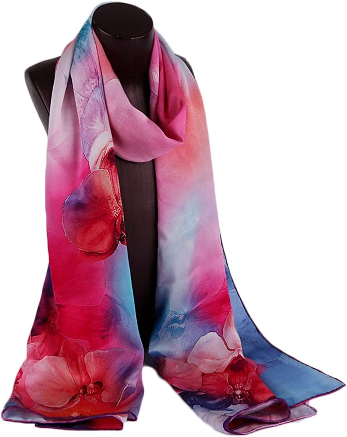 CEFULTY Spring and Summer Shawl Gradient color Towel Watercolor Painting Silk Beach Towel (color   Pink, Size   175x52CM)