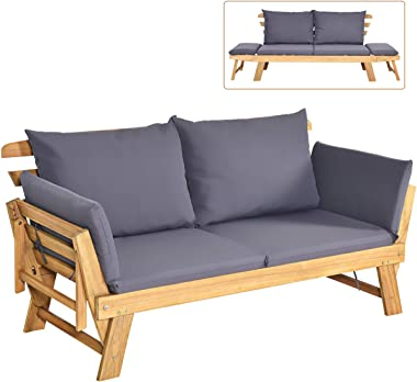 Tangkula Acacia Wood Patio Convertible Couch Sofa Bed with Adjustable Armrest, Outdoor Daybed with Cushion & Pillow, Folding