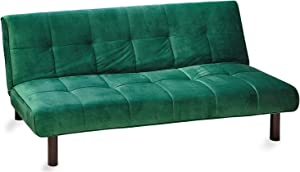 TU TENDENCIA UNICA Sofá Cama con 3 Plazas abatible Fabricado en Terciopelo Verde. Medidas: Sofa: 178 x 91 x 74 cm Cama: 178 x 107 x 35 cm