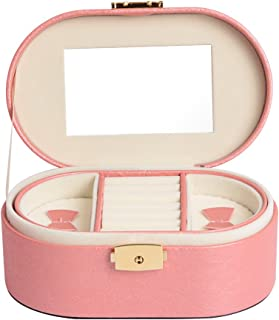 Small Travel Jewelry Box Organizer for Girls Ladies - Faux Leather & Soft Beige Velvet Earring Ring Necklace Watch Storage Case Holder (Pink (UPGRADED))