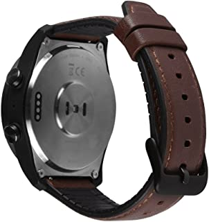 Pinhen Compatible with Huawei Watch 2 Classic Band, 22MM W2 Pro Leather Replacement Adjustable Bracelet Strap with Ventilation Holes For Huawei Watch 2 Classic,TPE Brown