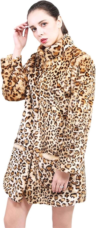 LIVEINU Women Luxury Faux Fur Coat Jackets Winter Leopard Print Outerwear