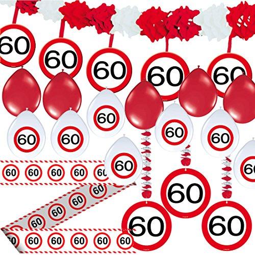 Carpeta 23-TLG. Partyset * 60. Geburtstag * mit Verkehrschild Deko: Girlande + Rotorspiralen + Absperrband und vielen Luftballons Dekoset Dekobox Verkehrsschild