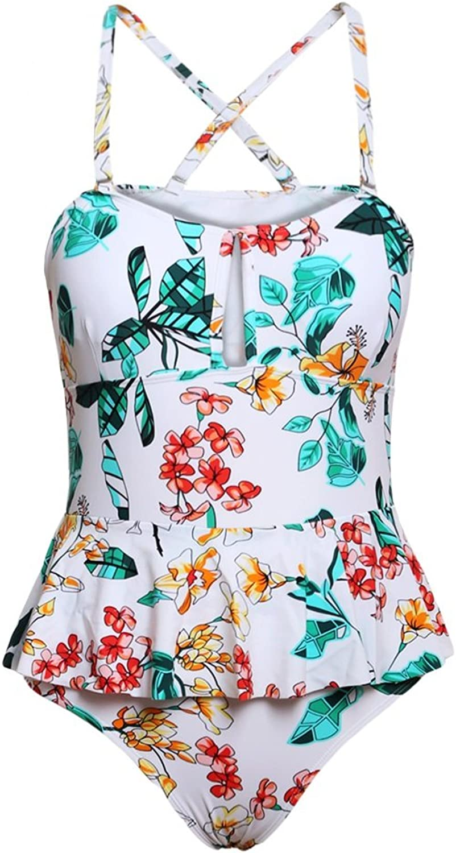 DD Frauen Bikini Sets Sexy Monokini Einteilige Große Große Große Größe Badeanzug Tropischen Blaumendruck Schößchen Badeanzug (M-3XL) (Farbe   Weiß, größe   XXL) B07D6P9Y88  Erschwinglich 4a954b