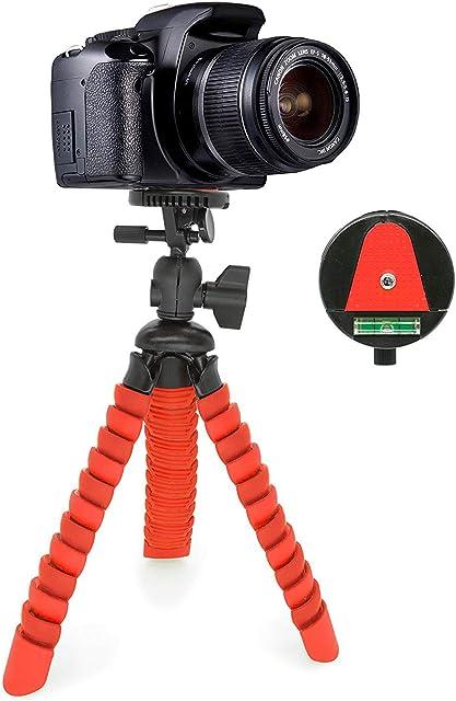 MyGadget Mini Trípode Ultra Flexible Portatíl para Cámara Reflex con Liberación rápida de Placa - Montaje Universal 360° con Base de Soporte Pulpo - Rojo