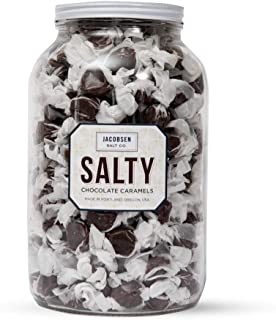 Jacobsen Salt Co. Salty Chocolate Snacking Candy.4lb Jar with approximately 220 pieces of candy.