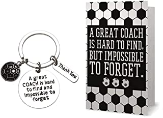 Sportybella Soccer Coach Keychain and Card- Soccer Coach Gifts- Soccer Great Coach is Hard to Find Jewelry - Perfect Soccer Coach Gifts