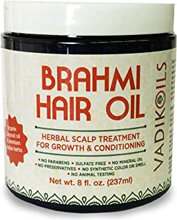 Brahmi Hair Oil (8 oz) by Vadik Herbs | All natural herbal hair oil for hair growth, hair conditioning, dandruff and dry scalp | Herbal scalp treatment