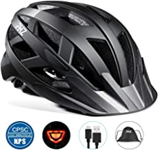 PHZ. Adult Bike Helmet Men Women with Light CPSC Certified for Mountain Road Bicycle Helmet with Detachable Visor