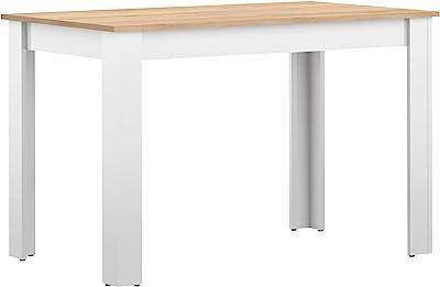 Marque Amazon -Amazon Basics - Table de salle à manger, 110x70x73.4cm (longueurxprofondeurxhauteur), Blanc et finition chêne