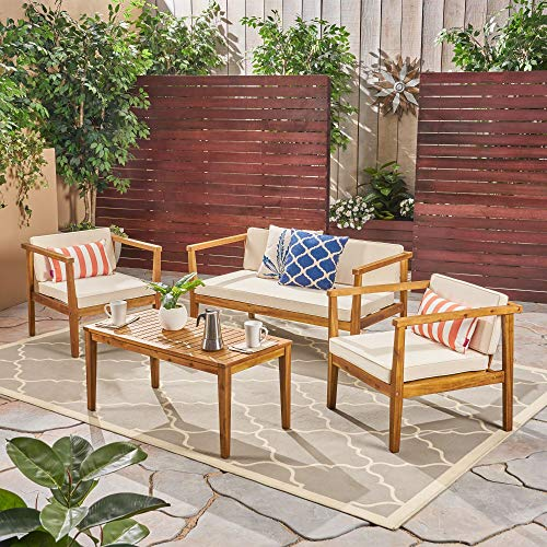 4pc Beige and Brown Contemporary Outdoor Chat Set with Coffee Table 52.25'