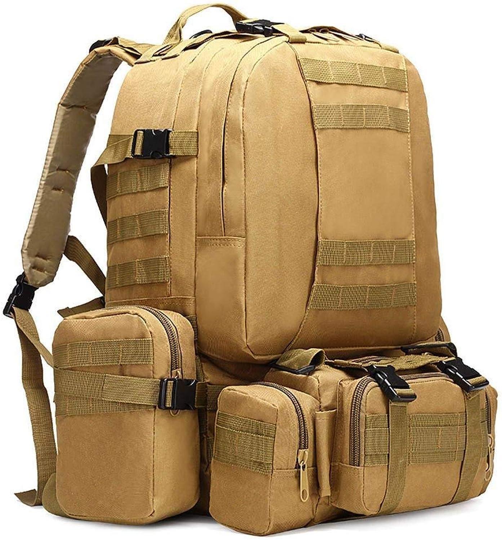 Lounayy Outdoor Reisen Camping Wandern Rucksack Tasche Tactical Rucksack (Farbe   Khaki, Größe   One Größe)