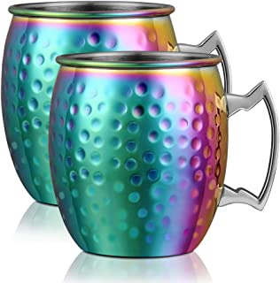 Moscow Mule Copper Mugs - Set of 2 Rainbow Hammered Stainless Steel Cups - 18 oz Handmade Cocktail Copper Mug