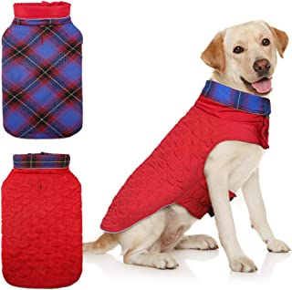 DENTRUN Dog Jacket Cold Weather Pet Apparel Winter Warm Coat Windproof Waterproof Reversible British Style Plaid Vest Chri...