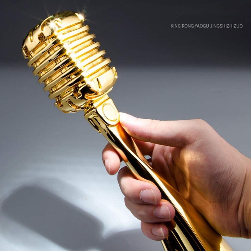 Color : Gold, Size : 30.5 * 8cm Trofeos Micr/ófono Puede Estar Se/ñalizados Canto Premios De Eventos Campe/ón Regalo De Competencia De Oro Ni/ños