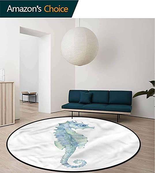 RUGSMAT Animal Round Area Rug Carpet Painbrush Photo Seahorse Pattern Floor Seat Pad Home Decorative Indoor Diameter 24