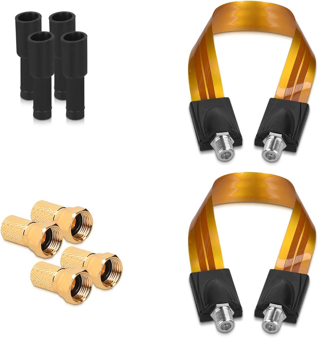 Caravan Orange Doors kwmobile Flat Coaxial Window Cables Set of 2 Satellite Feed-Through F-Plug Coax Connector Feedthrough Cable for Windows