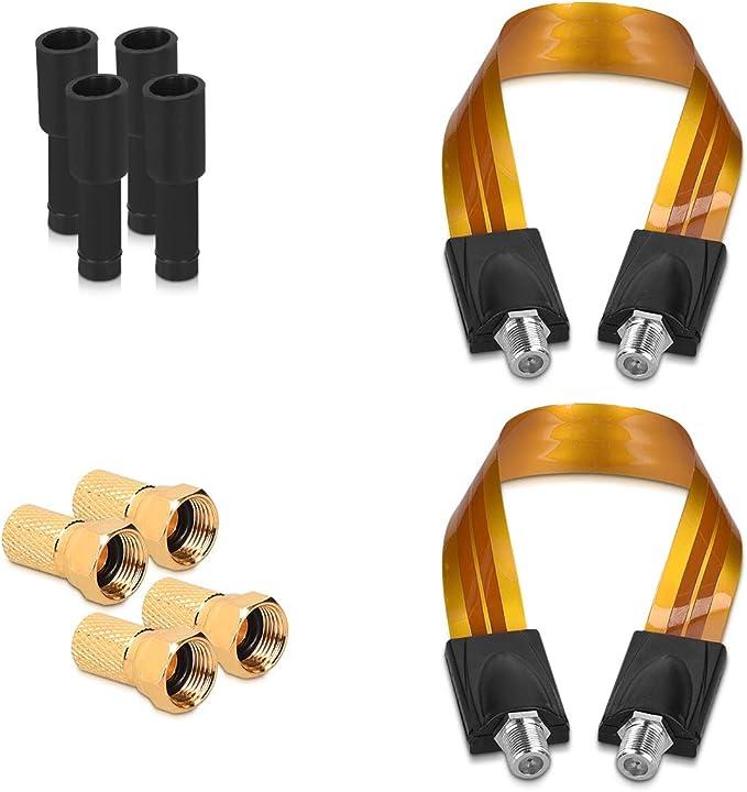 kwmobile Kit 2X Cable Sat pasaventana para Antena parabólica - Cable coaxial para satélite Plano de Ventana - Set de 2 Cables con 4X Conector F