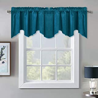 StangH Decoration Scalloped Velvet Valance - Premium Thick Wave-Shaped Small Window Curtain Tier, Matching with Velvet Drapes for Living Room/Bar, Teal, 52 x 18 inch, 1 Panel