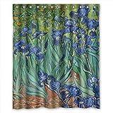 artsplaza poliéster Arte Pintura Vicente Willem Van Gogh Iris 1889baño Cortinas Anchura x altura/60x 72Inches/W H 150por 180cm Regalo o decoración para Parejas Personalizado Arte Personalizado
