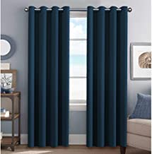 H.VERSAILTEX Ultra Thick and Soft Blackout Curtains for Bedroom, Room Darkening Thermal Insulated Extra Long Curtains/Drapes, Privacy Curtain Panels (52 Inch by 108 Inch, Navy Blue, 2 Panels)