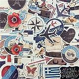 XIAMU Etiqueta engomada de la Bandera del Viaje Retro del Viento Europeo y Americano Taza de Agua Decoración del Libro Cuenta de la Mano El tamaño del Material no es el Mismo 90 Piezas