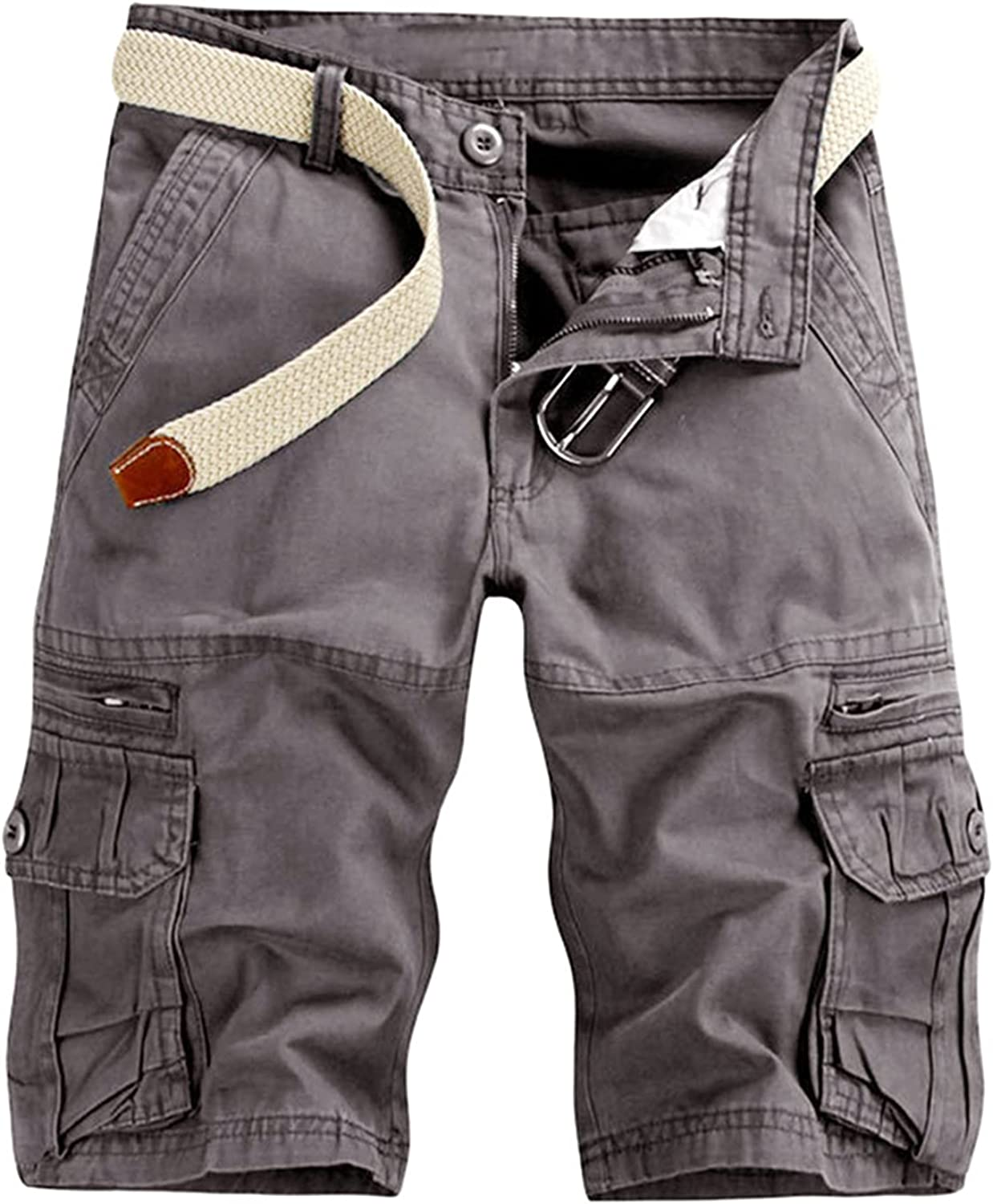 LEIYAN Mens Retro Work Cargo Shorts Casual Waist Relaxed Loose Fit Active Outdoor Traveling Hiking Joggers Shorts