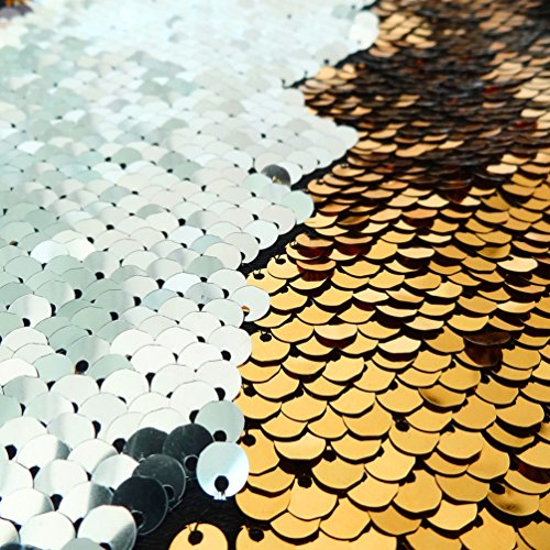 San Tungus Half Yard Color Changing Shimmer Sequin Fabric Reversible Sparkly Fabric Flip Up Sequin Sequin Table Linens, Gold & Silver