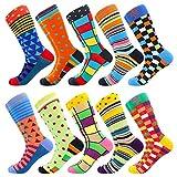 BISOUSOX Calcetines Estampados Hombre,Hombres Ocasionales Calcetines Divertidos Impresos de Algodón de Pintura Famosa de Arte Calcetines,Calcetines de Colores de Moda(Multicolor, 39-46, 10 Pares)