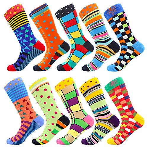 Men's Fun Dress Socks Patterned Crew Colorful Funky Fancy Novelty Funny Casual...