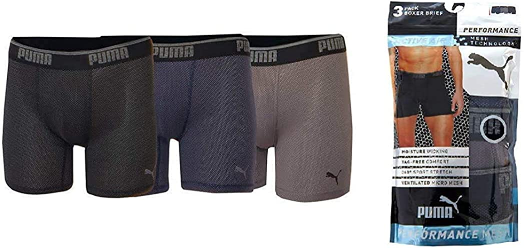 PUMA Performance Boxer Brief, Tag Free, Active Air, Ventilated Mesh Technology, Moisture Wicking