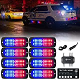 [Upgrade] Xprite 24 LED Surface Mount Strobe Lights Kit with Control Panel, Grill Grille Flashing Emergency Warning Police Side Marker Light for Trucks Vehicles ATV RV Cars Van Red Blue, 8PCS