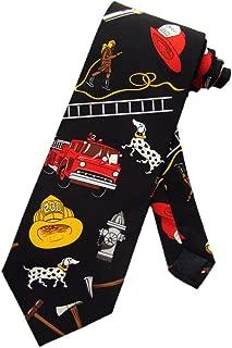 Steven Harris Mens Firefighter Firemen Fire Necktie - Black - One Size Neck Tie