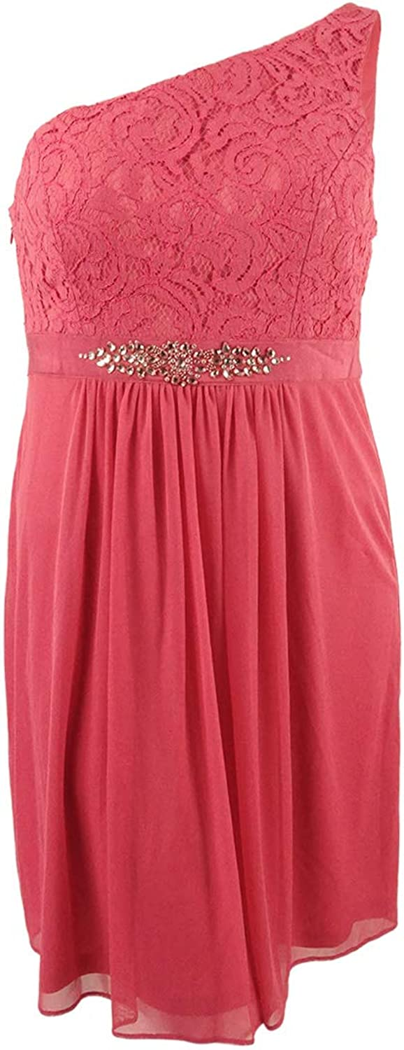 Adrianna Papell Womens One Shoulder Mini Cocktail Dress Pink 4
