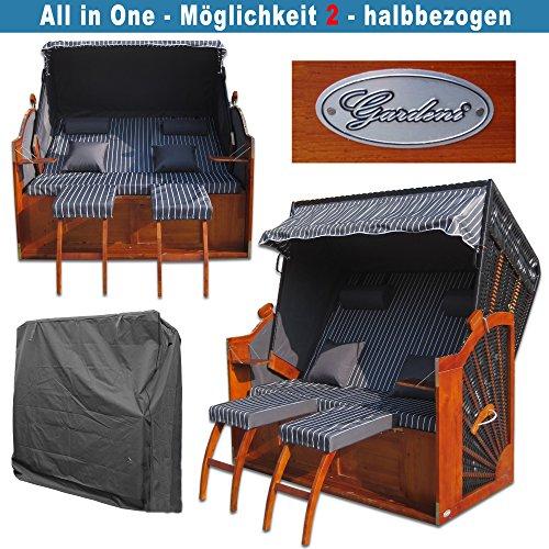 XINRO® Volllieger Strandkorb XXL anthrazit günstig kaufen # inkl. Schutzhülle # 2 Bezüge (Grundbezug + abnehm- und waschbarer Wechselbezug) - 4