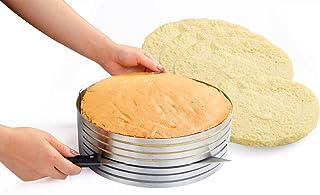 Somine Molde Laminar Tartas de 7 Capas para Cortar los Pasteles - Anillo de Acero Inoxidable con Diámetro Ajustable de 23 cm a 30 cm (9 '' a 12 '')